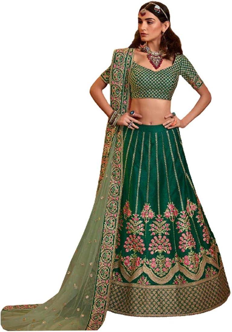 Bottle Many 70% OFF Outlet popular brands Green Wedding Wear Raw Silk Net Dupat Lehenga Choli Pista