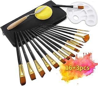 TOPERSUN 19 PCS Pinceles de pintura de nilón de manija de madera de formas diferentes de