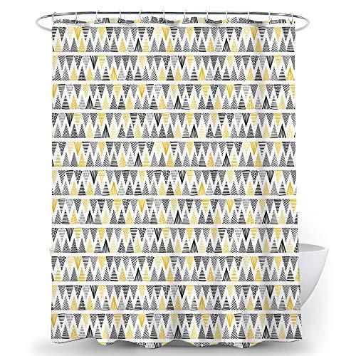 Alumuk Duschvorhang Wasserdicht Blickdicht Duschvorhänge Textil aus Polyester Bunt Triangle Muster mit Verstärkte Löcher Beschwertem Saum inkl. 12 Duschvorhangringen für Badezimmer