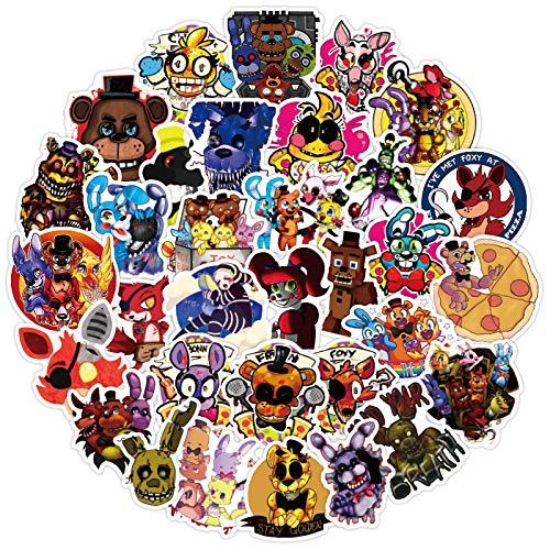 Five Nights at Freddy'S Stickers 50 Pcs Pegatinas para Ordenador Portátil, Parachoques, Monopatín, Teléfono, Pegatinas de Juegos de Terror