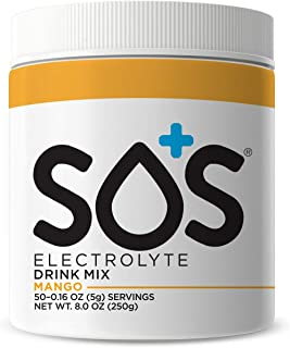 SOS Hydration Electrolyte Replacement Powder Drink Mix Supplement Jar Mango (50 Servings)