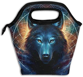Reusable Leakproof Fruit Lunch Bag Handbags For Work Picnic - Dream Catcher Lunar And Galaxy Wolf Insulated Food Storing - Carrying Lunch Box For Women Girls