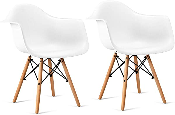 Giantex Set Of 2 Modern Dining Chairs W Natural Wood Legs Easily Assemble Mid Century DSW Molded Plastic Shell Arm Chair For Living Room Bedroom Kitchen Dining Room Waiting Room White