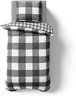 Melunda 2 TLG Renforcé Bettwäsche 155x200 cm mit 1 Kissenbezug 80 x 80 cm - 100% Baumwolle mit YKK Reißverschluss, Superweiches Bettbezug, Oeko-TEX Standard Zertifiziert, Pordland Anthrazit