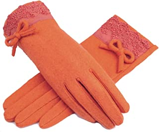 LingGT Elegant Glovers Women Bowknot Lace Hand Mittens (Color : Orange, Size : One Size)