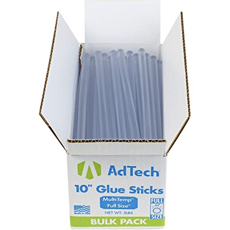 AdTech 10 inch Hot Sticks Full-Size Multi-Temp 5-lb Box All-Purpose Glue Sticks-7/16 X10 5lb, 5 POUND, Clear, 5 Lbs