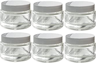 Clear Glass 2 oz/ 60 ml Thick Wall Balm Jars with White Foam Lined Smooth Lids (6 pack)