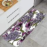 Cocina Antideslizante Alfombras de pie Seamless patrón Floral Violeta Tulipanes Violeta Decoración d...