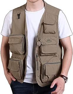 XXT Pocket Vest Polyamide Fiber Spring and Autumn Men's Sports and Leisure Multi-Pocket Vest Practicality (Color : Khaki, Size : XL)