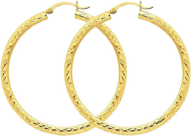 10k Yellow Gold Diamond-cut 3mm Round Hoop Earrings Length 50mm