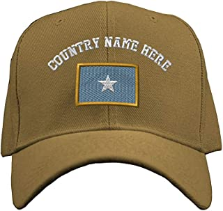 Custom Baseball Hat Somali Embroidery Country Name Structured Cap Hook & Loop