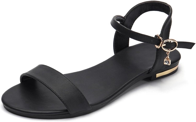 New Genuine Leather Sandals Women shoes Rhinestone Female Summer