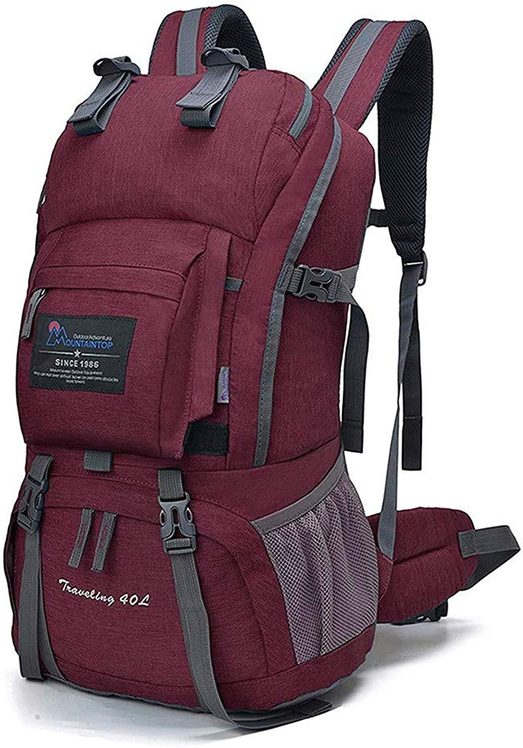 PinShang Outdoor Double Shoulder Unisex Backpacks for Hiking Camping Purple Red