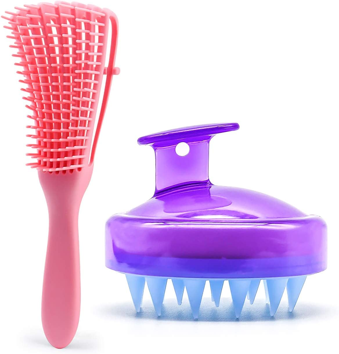 reakoo Soft Pet Cat Brush With Ultra Soft Silicone Pins Comfortable for Pets Washable NO Scratching Grooming /& Shedding Massage Brush for Cats Pink Comb + Purple Shampoo Brush