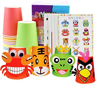 Dian Crafts Paper Cups Art Kit Kids Crafts Art Toys DIY Crafts Toys for Kids Children 12pcs Paper Cup and 12pcs Stickers