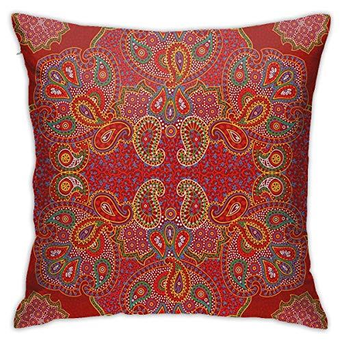 Home Funda de almohada con diseño persa de mandala marroquí oriental rectangular Paisley estampado floral naranja quemado azul y blanco