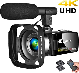 """Camcorder 4K Video Camera Vlogging Camera Recorder with Microphone 30MP 3"""" LCD Touch Screen Webcam Function 18X Digital Zo..."""