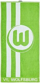 VfL Wolfsburg Duschtuch - grün-weiß Logo - Handtuch 70 x 140 cm, Badetuch, Towel - Plus Lesezeichen Wir lieben Fußball