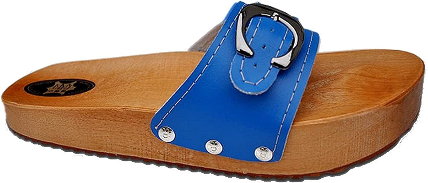 Marited' bluee Anti Cellulite Medical Slimming Sandals Clogs shoes Natural Wood and Leather