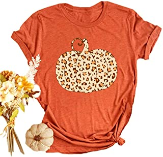 Halloween Pumpkin Shirt Women Plaid Leopard Graphic Tees...