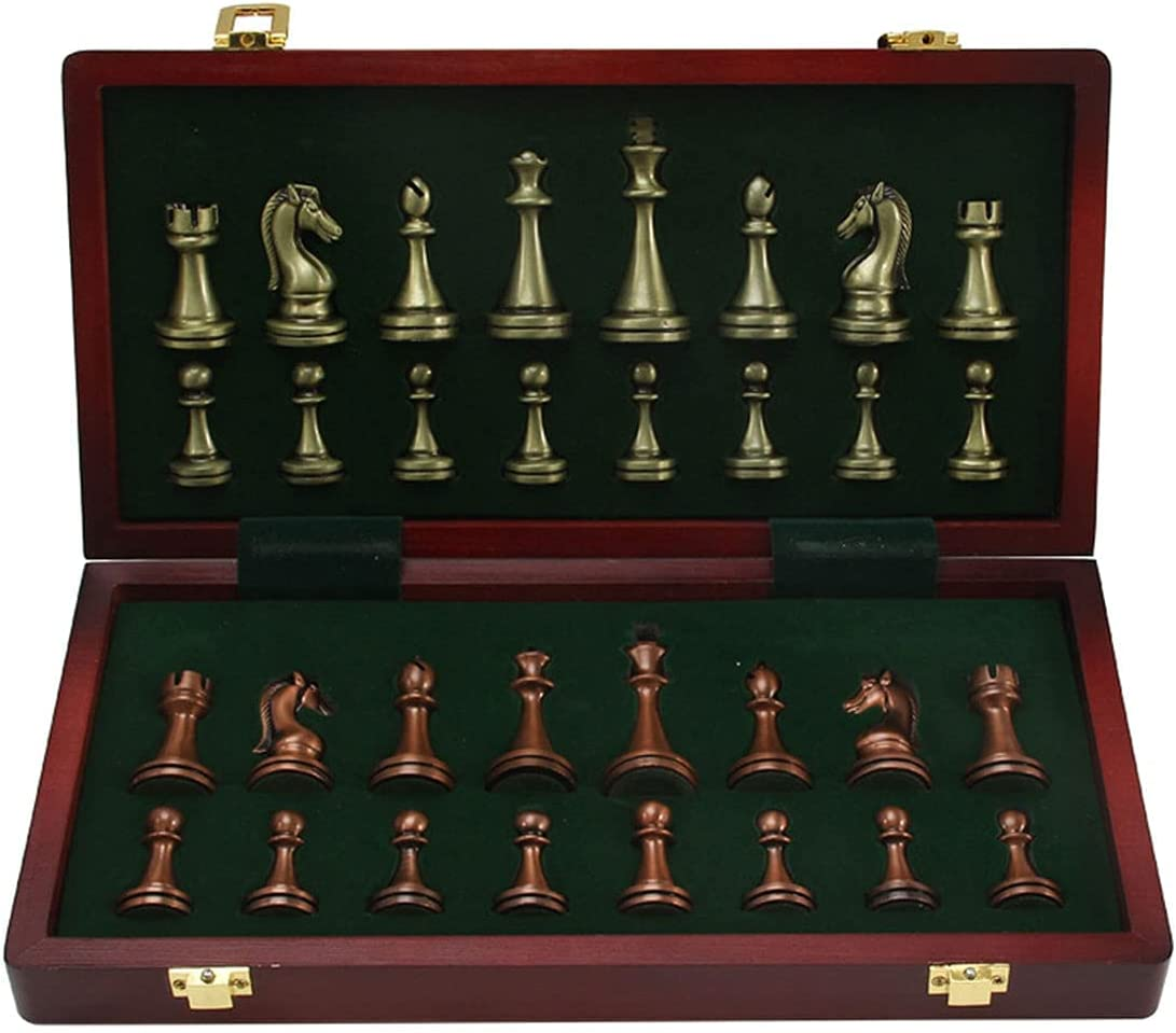 Bombing free shipping Metal Chess Set Choice Unique Larger Foldable Wooden for Kid