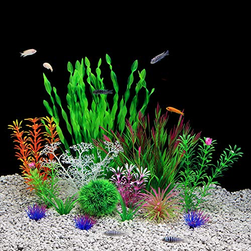 QUMY Aquarium Plants Plastic Artificial Fish Tank Plants Decoration Set for All Fish 14 PCS