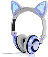Wired Cat Ear Headphones Glowing Lights with USB Charging Cable (White)