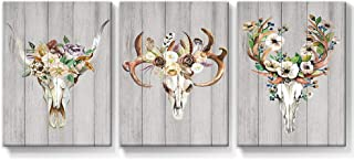 Takfot Canvas Antler Wall Art Deer Head Skull Pictures Prints Vintage Painting Framed Artwork Colorful Flower Pictures Ready to Hang for Bedroom Living Room Bathroom 12×16 Inch,3 Panels