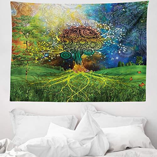 ABAKUHAUS Ethnisch Wandteppich Mutter Erde Zen Themeaus Weiches Mikrofaser Stoff 150 x 110 cm Wand Dekoration Für Schlafzimmer Grün-blauen