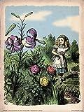 Kunstdruckposter Alice im Wunderland, Blumengarten,