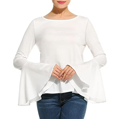 f0666e9b8765e Naggoo Women s Long Bell Sleeve Blouse Back Lace Up Tops Casual T-Shirts
