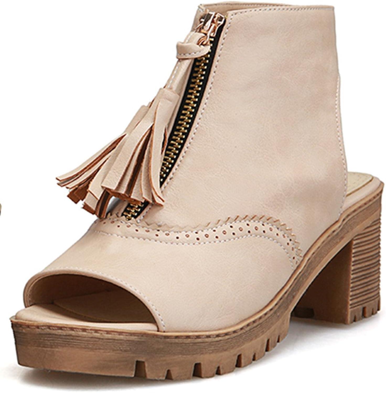 Fashion Heel Women's Chunky Heel Peep Toe Fringe Slingback Sandal