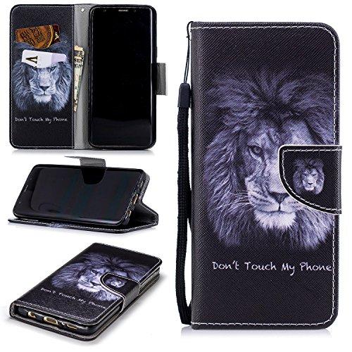 FNBK Kompatibel mit Hülle Samsung Galaxy S9 Hülle Leder Lanyard Löwe Flip Schutzhülle Silikon Backcover Flip Cover Wallet Bookstyle Handyhülle Tasche Stand Kartenfächer Ledertasche