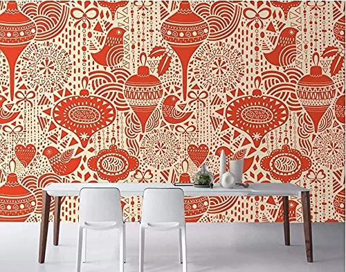 Papel tapiz de pared 3D personalizado serie de Navidad Año Nuevo rojo adecuado para sala de estar Bar cafeterí Pared Pintado Papel tapiz 3D Decoración dormitorio Fotomural sala sofá mural-300cm×210cm