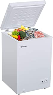 MOOSOO Chest Freezer, 3.5 Cubic Feet with Removable Storage Basket Deep Compact Freezer 7 Gears Temperature Control Energy Saving CSA Certificated, White