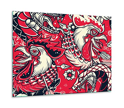 QTA | fornuisafdekplaat 60x52cm keramische afdekking 1-delig universeel elekrofornuis inductie voor kookplaten fornuis bescherming spatbescherming snijplank vogels