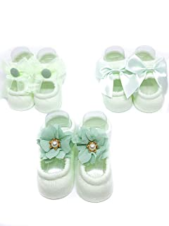 Dazzle Baby 3 Pairs Baby Girl Non Slip Lace Flower Socks, Infant Girl Ankle Sock Shoe, Newborn Cotton Sock Photography Prop