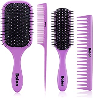 4Pcs Paddle Hair Brush, Detangling Brush and Hair Comb Set for Women and Men, Great On Wet or Dry Hair, No More Tangle Hairbrush for Long Thick Thin Curly Natural Hair (Purple)