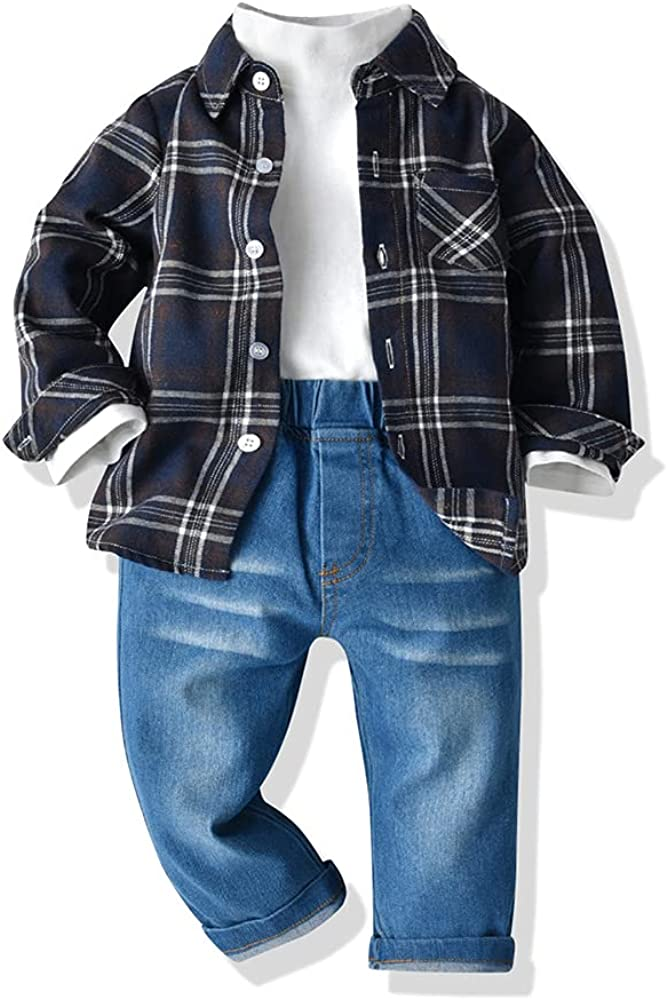 Wnitefg Boys Plaid Shirt+Half High Collar Pullover+Denim Pants 3Pcs Outfits Pants Set Clothes 1-7Y Black