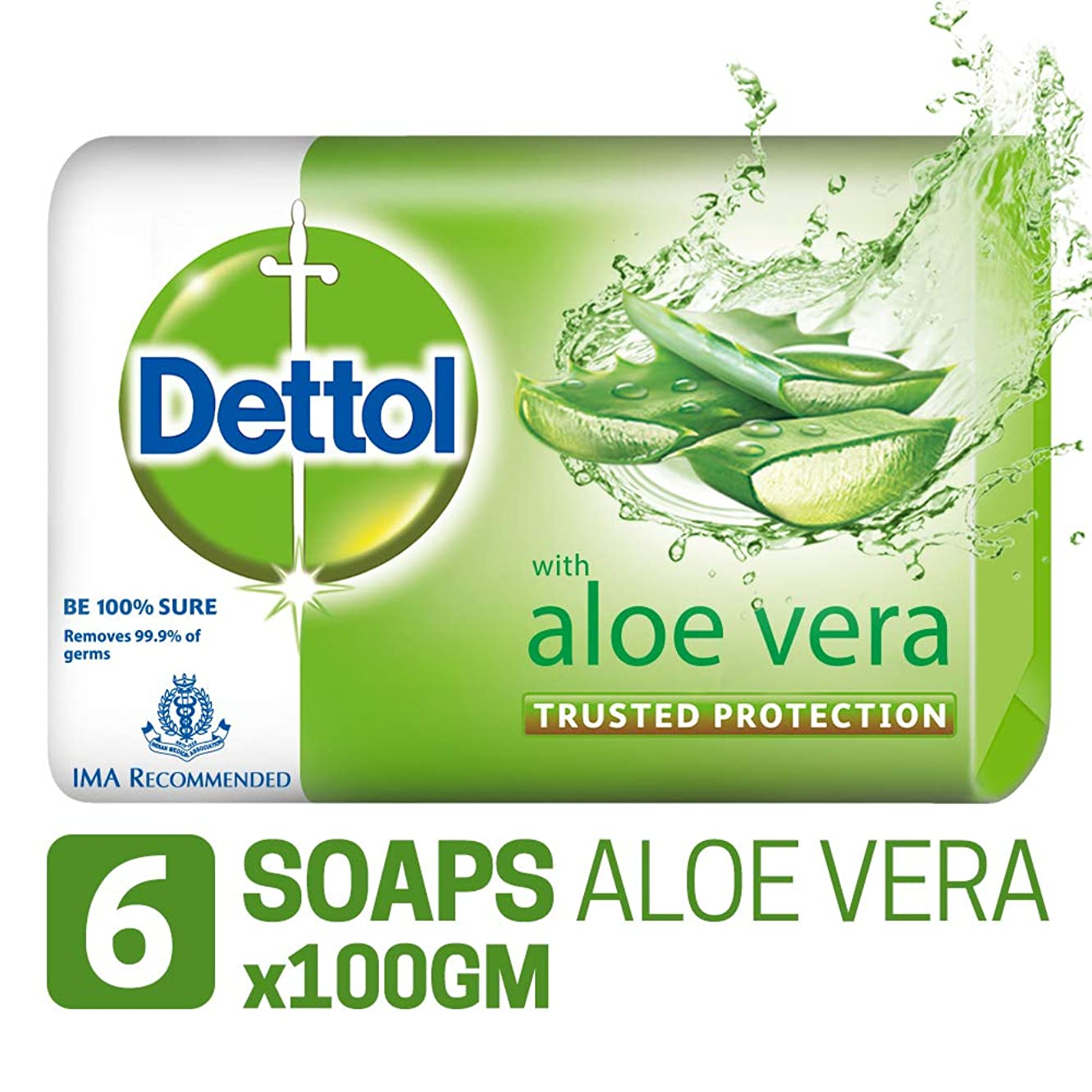 風確認関係するDettol Soap - 100 g (Pack of 6, Aloe Vera)