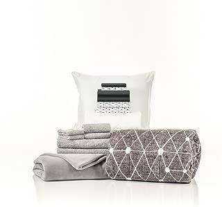 OCM 16 Piece Starter Pak Destin Black Twin XL College Dorm Bedding and Bath Set