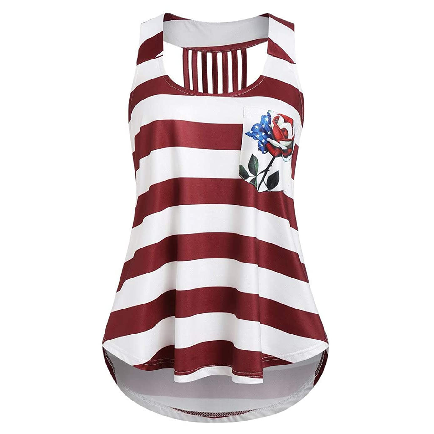 CCatyam Tank Tops for Women, Sleeveless US Flag Print Stripe 4th July Loose Vest Casual Summer
