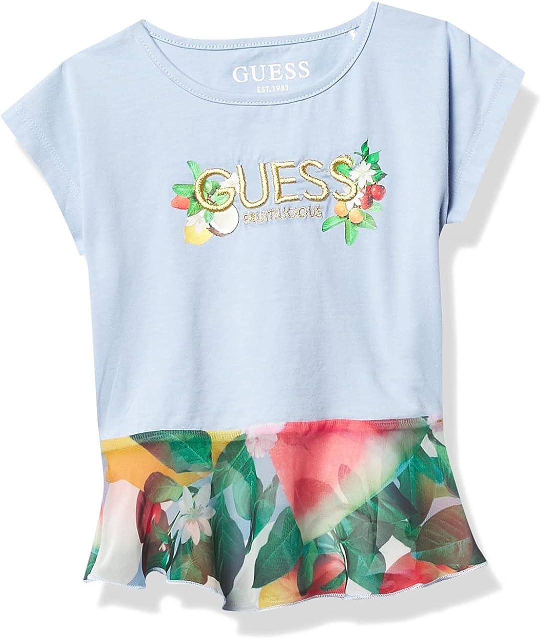 GUESS Girls' Little Stretch Jersey Embroidered Logo T-Shirt with Printed Chiffon Peplum
