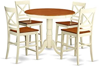East West Furniture 5 Piece Pub Table and 4 Counter Height Chairs Set