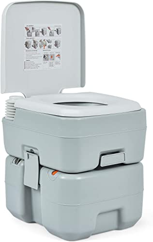 2021 Giantex Portable Toilet 5.3 new arrival Gallon with Powerful Push Pump, Built-in Rotating Spout Compact Commode for Travel, Boating, online sale Camping Portable Waste and Fresh Tank Split RV Toilet (With Level Indicator) outlet sale