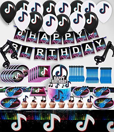 Tik-Tok Birthday Party Decorations Supplies, Icluded Spoons, Fork, Knife, Plates, Table Covers, Banner, Napkins , Balloon, Cake Toppers, Party Decoration for Boys And Grils, Music Themed Party Supplies