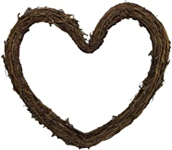 CLISPEED Heart Shaped Grapevine Wreath Natural Twig Vine Branch Garland Rattan Wreath 30cm for for DIY Craft Christmas Hol...