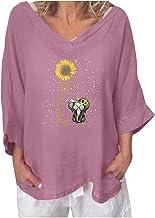 Dames zonnebloemenprint V-hals halve mouw losse wafel vleermuismouwen tuniek tops casual plus size blouses T-shirts