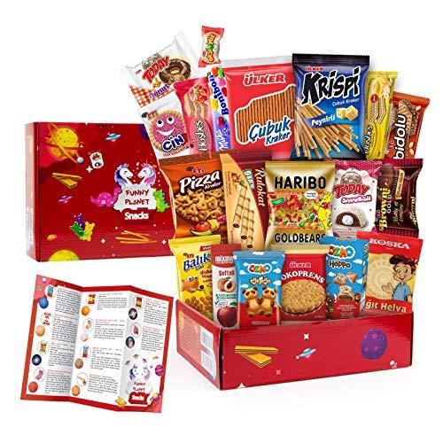 Funny Planet Süßigkeiten und Snacks Geschenk Box für Kinder & Erwachsene, Kindergeburtstag, Mystery Geschenkset mit Party Candy Süßwaren, Wafer, Kuchen, Schokoladenkeks, Haribo Gummibärchen, 20 Teile