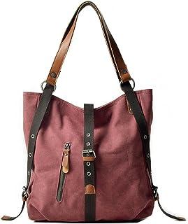 VZVABAG Damen Handtasche Rucksack Frauen Schultertasche Canvas Shopper Tasche Vintage Rucksackhandtasche Verstellbare Schu...